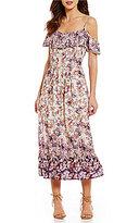C & V Chelsea & Violet Cold Shoulder Floral Print Midi Dress