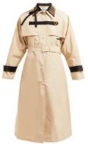 Prada Stud-embellished Cotton-blend Trench Coat - Womens - Beige Multi