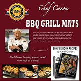 """BBQ Grill Mat by Chef Caron Designed for the Professional 16""""x13"""" Gift Set of 2 Mats - Nonstick PTFE, Ultra-slick, Extra Thick .25mm - Expand Your Grilling Options & Keep Your Grill Spotless"""