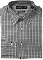 Nick Graham Men's Plaid Cotton Dress Shirt, Grey