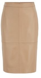 HUGO BOSS Leather pencil skirt with back slit