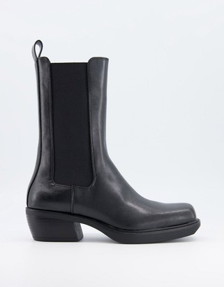Bershka square toe flat western boot in black