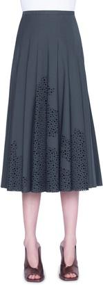 Akris Punto Broderie Anglaise Pleated Cotton Midi Skirt