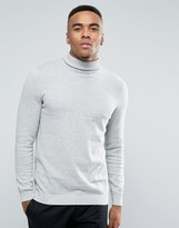 New Look Roll Neck Jumper In Silver Grey