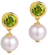 Piara 8MM White Freshwater Pearl and Peridot Drop Earrings