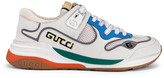 Gucci G Line Sneakers in White & Silver   FWRD
