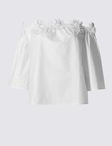 Per Una Pure Cotton Floral Bardot Shell Top