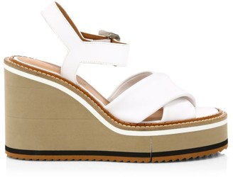 Clergerie Noemie Leather Platform Wedge Sandals