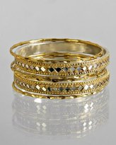 set of 6 - goldtone diamond cut mirrored bangles