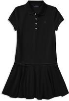 Ralph Lauren Girls' Velvet Bow Polo Dress - Big Kid