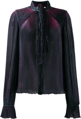 Marco De Vincenzo Pleated Pussy Bow Blouse