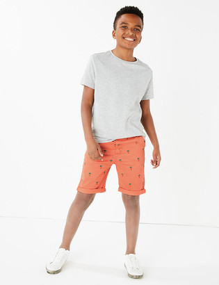 Marks and Spencer Cotton Embroidered Chino Shorts (6-16 Yrs)