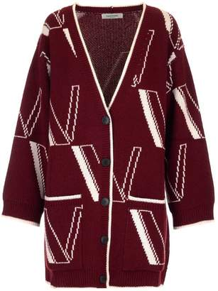 Valentino All Over Print Knitted Cardigan