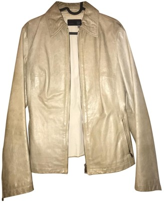 Gas Jeans Beige Leather Leather Jacket for Women Vintage