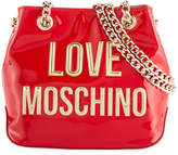 Love Moschino Patent Faux-Leather Logo Bucket Bag