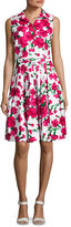 Samantha Sung Claire Sleeveless Floral-Print Shirtdress, Pink