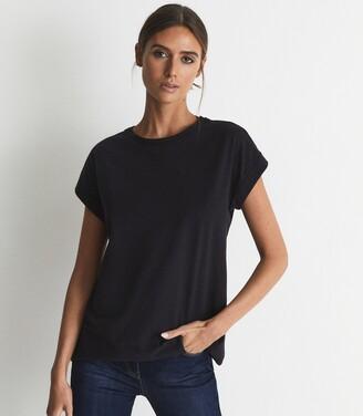 Reiss Tereza - Cotton-jersey T-shirt in Navy