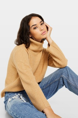Miss Selfridge PETITE Tan Funnel Neck Jumper