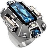 Swarovski Lanvin Cristaux Deco Cocktail Ring - Blue Shade