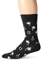 Happy Socks Men's 1 Pack Unisex Combed Cotton Crew-Black/White Lucky