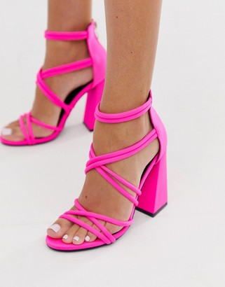 Co Wren curved block heeled strappy sandals in pink