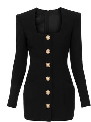 Balmain Button-Detailed Wool Mini Blazer Dress