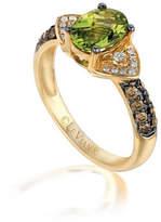 LEVIAN CORP Grand Sample Sale by Le Vian Green Apple Peridot & 1/3 CT. T.W. Vanilla Diamonds and Chocolate Diamonds in 14k Honey Gold Chocolatier Ring