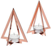 Torre & Tagus Copper Pyramid Frame Tealight Holder - Set of Two