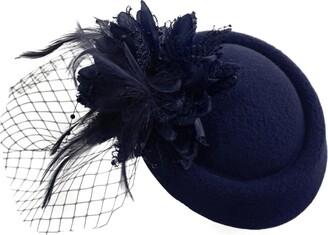 Caprilite Steel Blue Turquoise Teal Pillbox Fascinator Hat for Women Weddings Bird Cage Veil Clip