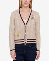 Tommy Hilfiger Patched Cable-Knit Cardigan, Created for Macy's