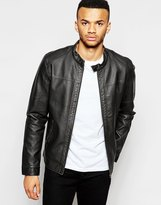 Jack & Jones Faux Leather Jacket With Biker Collar - Black