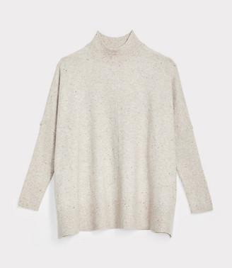 LOFT Petite Flecked Rib Trim Poncho Sweater