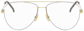 Fendi Gold and Brown Aviator Glasses