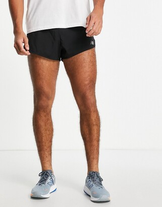 New Balance Running 3 inch split shorts in black