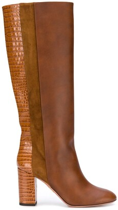 Aquazzura Eaton 85mm croc-embossed boots