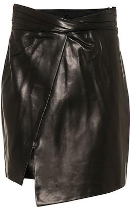 RtA Wrap-front leather miniskirt