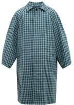 Balenciaga - Checked Twill Overcoat - Mens - Blue
