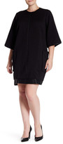 Melissa McCarthy Cocoon Embossed Faux Leather Trim Dress (Plus Size)