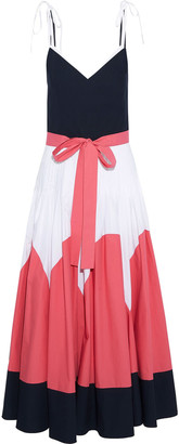 DELPOZO Bow-detailed Color-block Cotton-poplin Maxi Dress
