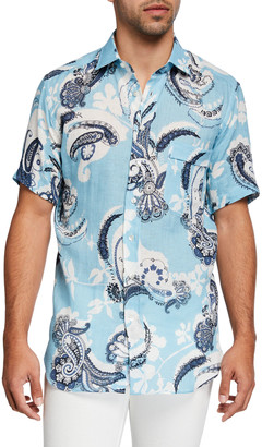 Etro Men's Paisley Linen Hawaiian Shirt