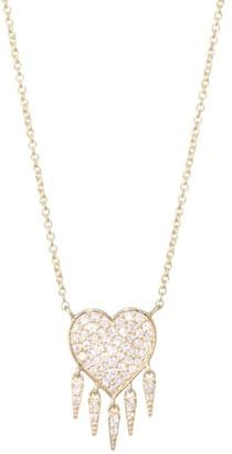 Sydney Evan 14K Yellow Gold & Pave Diamond Fringe Heart Necklace