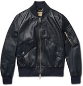 Burberry Leather Bomber Jacket - Midnight blue