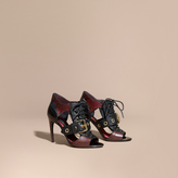 Burberry Buckle Detail Leather and Snakeskin Cut-out Ankle Boots