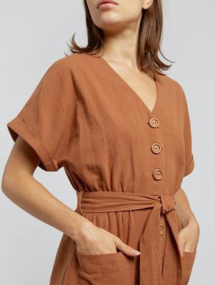 Louche Percy Wooden Button Jumpsuit Rust - 14