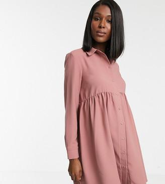 Asos DESIGN Maternity smock shirt mini dress with long sleeves
