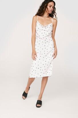 Nasty Gal Womens Polka Dot Fitted Midi Slit Dress - White - 4