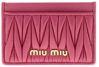Miu Miu Wallet Credit Card Holder In Genuine Soft Matelassé Leather With Logo
