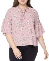 B Collection by Bobeau Curvy Willa Printed Lace-Up Blouse