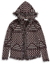 Dex Patterned Knit Hooded Fringed Cardigan