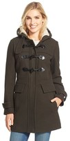 London Fog Women's Wool Blend Duffle Coat With Faux Shearling Lined Hood